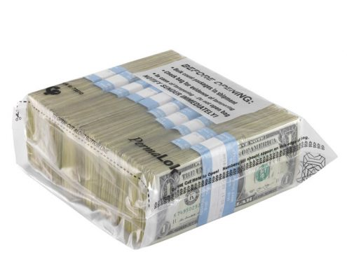 Bundle bag used for different configurations of cash with $1 bill bundles inside.