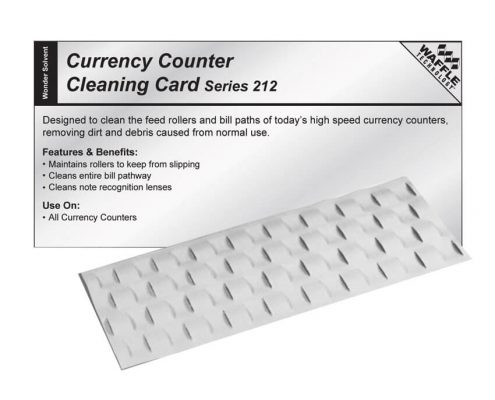 Currency counter cleaning card used to clean the feed rollers and bill paths of a currency counter.