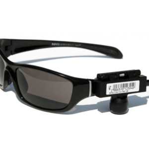 A black eyewear security tag is shown with a barcode and is attached to a pair of black sporty sunglasses.