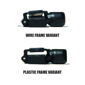 The top security tag is best used for wire frames and the bottom security tag is best used for plastic frames.