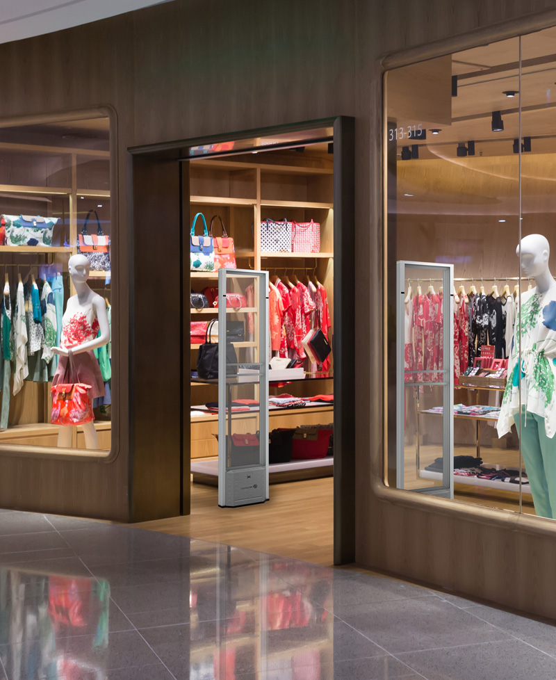 Women's retail entrance utilizing 2 SAM2 EAS systems which are anti-theft devices.