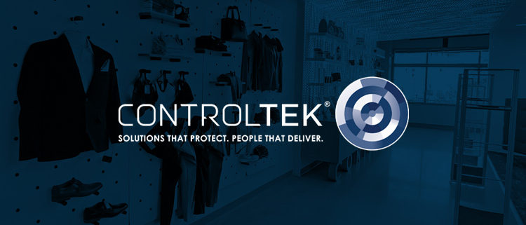CONTROLTEK logo on a blue background showing a retail space with an anti-theft EAS security system.