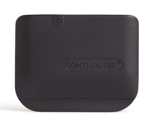 Black security tag that is rectangular in shape is flat enough to fit inside small leather goods.